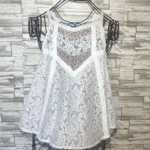 Maurice's floral print lace over top